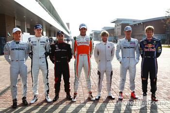 Nico Rosberg, Mercedes GP with Nico Hulkenberg, Williams F1 Team, Timo Glock, Virgin Racing, Adrian Sutil, Force India F1 Team, Nick Heidfeld, Test Driver, Mercedes GP, Michael Schumacher, Mercedes GP and Sebastian Vettel, Red Bull Racing