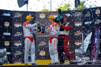 Podium: race winners Steve Owen and Jamie Whincup
