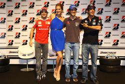 Felipe Massa, Scuderia Ferrari, Bruno Senna, Hispania Racing F1 Team and Lucas di Grassi, Virgin Racing during the Bridgestone conference