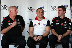 John Booth Virgin Racing Team Principal; Nikolay Fomenko Marussia Motors Presidentand Graeme Lowdon Chief Executive of Virgin Racing at a press conference where Virgin Racing announced that Marussia have acquired a shareholding in the team
