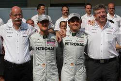 Mercedes team photo, Dr. Dieter Zetsche, Chairman of Daimler, Michael Schumacher, Mercedes GP, Nico Rosberg, Mercedes GP, Ross Brawn Team Principal, Mercedes GP
