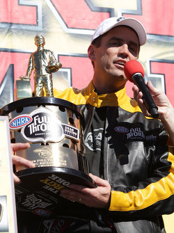 Larry Dixonr being interviewed after winning his 5th Top Fuel Championship