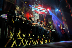 NASCAR drivers react to a question during the 2010 NASCAR After The Lap show at The Joint inside the Hard Rock Hotel & Casino