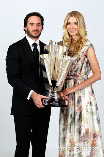 Five-time champion Jimmie Johnson poses with his wife Chandra