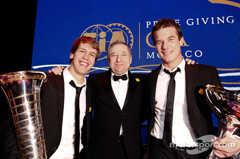 FIA President Jean Todt with FIA Formula One World Champion Sebastian Vettel and FIA World Rally Champion Sébastien Loeb