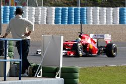 Michael Schumacher, Mercedes GP Petronas F1 watches Felipe Massa, Scuderia Ferrari