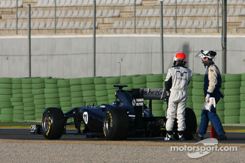 Rubens Barrichello, Williams F1 Team stops on track