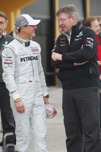 Michael Schumacher, Mercedes GP F1 Team with Ross Brawn Team Principal, Mercedes GP