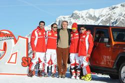 Marc Gene, Felipe Massa, Luca di Montezemolo, Fernando Alonso, Giancarlo Fisichella