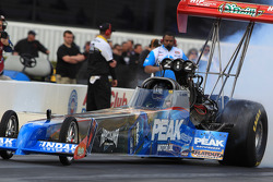 T. J. Zizzo during his burnout in his Peak Motor Oil / Herculiner Top Fuel Dragster