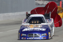 Jack Beckman deploys the parachutes aboard his Aarons  Dream Machine Dodge Charger Funny Car
