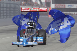 T. J.. Zizzo deploys the parachutes aboard his Peak Performnce Top Fuel Dragster