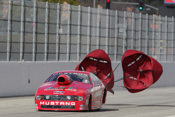Buddy Perkinson deploys the parachutes aboard his LAT Racing Oil Ford Mustang