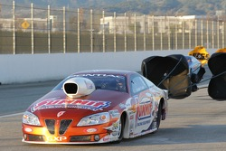 Jason Line's Summit Racing Equipment Pontiac GXP coasting to a stop after defeating Greg Stanfield in the final round at the Kragen O'Reilly Auto Parts NHRA Winternationals