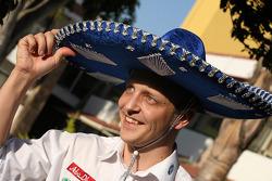 Mikko Hirvonen tries on a sombrero hat