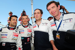 Pedro Lamy, Stéphane Sarrazin, Franck Montagny and Peugeot technical director Bruno Famin celebrate LMP1 pole