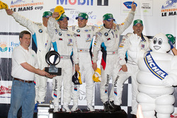 GT podium: class winners Andy Priaulx, Dirk Müller and Joey Hand