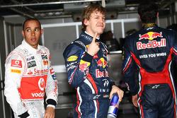 Pole winner Sebastian Vettel, Red Bull Racing, second place Lewis Hamilton, McLaren Mercedes, third place Mark Webber, Red Bull Racing