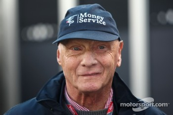 Lauda wearing his Money Service Group cap