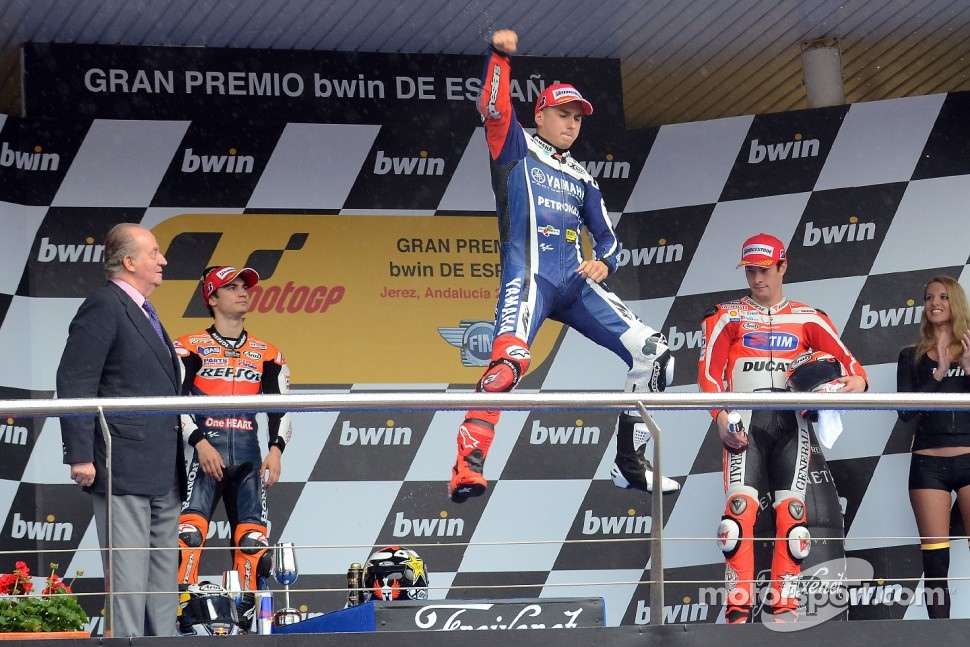 Podium: race winner Jorge Lorenzo, Yamaha Factory Racing, second place Dani Pedrosa, Repsol Honda Team, third place Nicky Hayden, Ducati Team