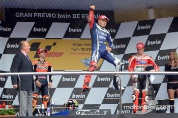 Podium: race winner Jorge Lorenzo, Yamaha Factory Racing, second place Dani Pedrosa, Repsol Honda Team, third place Nicky Hayden, Ducati Team