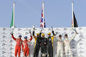 LM GTE Pro podium: class winners Robert Bell and James Walker, second place Giancarlo Fisichella and Gianmaria Bruni, third place Dominik Farnbacher and Allan Simonsen