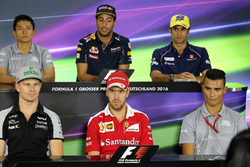 Pressekonferenz: Rio Haryanto, Manor Racing; Daniel Ricciardo, Red Bull Racing; Felipe Nasr, Sauber; Nico Hülkenberg, Sahara Force India F1; Sebastian Vettel, Ferrari; Pascal Wehrlein, Manor Racing