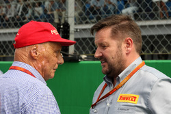 (L to R): Niki Lauda, Mercedes Non-Executive Chairman with Paul Hembery, Pirelli Motorsport Director