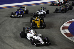 Felipe Massa, Williams FW38 Mercedes, leads Kevin Magnussen, Renault Sport F1 Team RS16 Valtteri Bottas, Williams FW38 Mercedes and Marcus Ericsson, Sauber C35 Ferrari