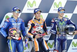 Polesitter Marc Marquez, Repsol Honda Team, second place Maverick Viñales, Team Suzuki MotoGP, third place Jorge Lorenzo, Yamaha Factory Racing