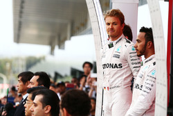 Race winner Nico Rosberg, Mercedes AMG F1 with team mate Lewis Hamilton, Mercedes AMG F1 on the podium