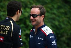 Bruno Senna, test driver, Renault F1 Team and Rubens Barrichello, Williams F1 Team