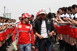 Felipe Massa, Scuderia Ferrari and Michael Schumacher, Mercedes GP