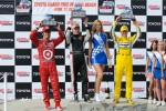 Race winner Mike Conway, second place Dario Franchitti, third place Ryan Briscoe, and Miss Indy Australia