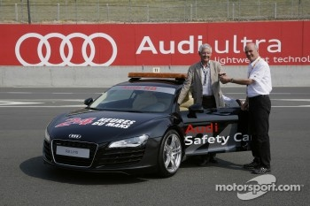 Jean-Claude Plassart and Dr. Wolfgang Ullrich with the Audi Safety Car