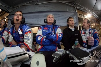 Hughes de Chaunac, Loic Duval and Olivier Panis watch the end of the race
