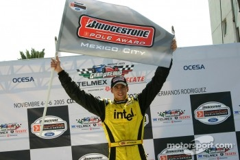 Pole winner Justin Wilson celebrates