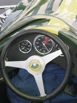 The dashboard of the vintage Lotus race car