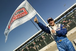 Pole winner Mario Dominguez celebrates
