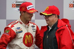 Podium: race winner Sébastien Bourdais with Carl Haas