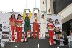 Podium: race winner Sébastien Bourdais with Will Power and Oriol Servia