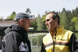 BMW Motorsport engineer talks to a Dunlop engineer