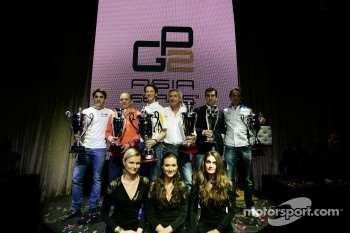 GP2 launch party, Billionaire Istanbul: Jules Bianchi, Romain Grosjean and Giedo Van der Garde