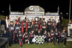 Victory lane: race winner Regan Smith, Furniture Row Racing Chevrolet celebrates