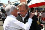 Bernie Ecclestone with Jean-Francois Caubet, Managing director of Renault F1
