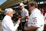 Bernie Ecclestone with Dr. Dieter Zetsche, Chairman of Daimler and Norbert Haug, Mercedes, Motorsport chief