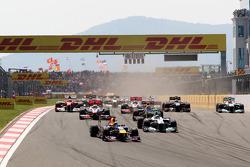 Sebastian Vettel, Red Bull Racing, RB7 leads Nico Rosberg, Mercedes GP F1 Team, MGP W02