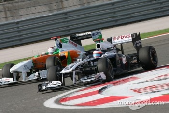 Rubens Barrichello, AT&T Williams and Adrian Sutil, Force India F1 Team