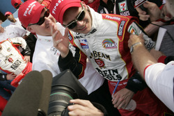 Victory lane: race winner Dan Wheldon