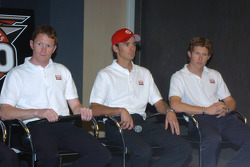 Target Chip Ganassi Racing drivers Scott Dixon, left, Darren Manning, center, and Ryan Briscoe